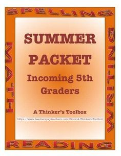 "Summer Packet - Incoming 5th Graders by A Thinker's Toolbox. This Summer REVIEW Packet requires NO PREP and can help your 4th graders prepare for 5th grade and reduce any ""summer slide""."