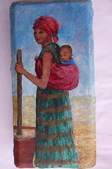 African-American Woman Grinding Grain by Sandra Cherry Jones Acrylic ~ 8 x 4