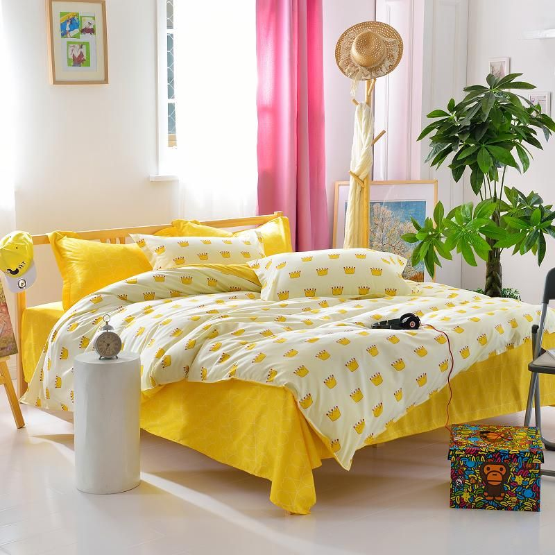 Latest Design Yellow Bed Sheet Crown Printed Duvet Cover Modern Style Princess Bedding Set Price 51 Designer Bed Sheets Modern Bed Sheets Yellow Bed Sheets