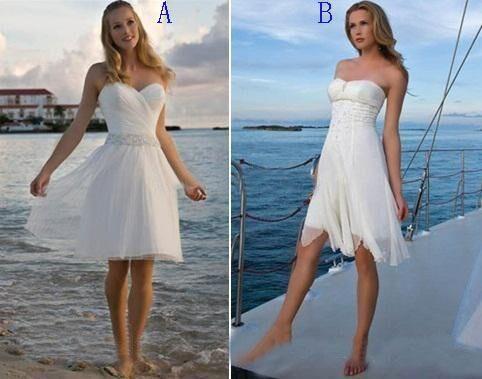 Cheap Chic Short Beach Wedding Dresses 2016 Strapless Beaded Chiffon ...