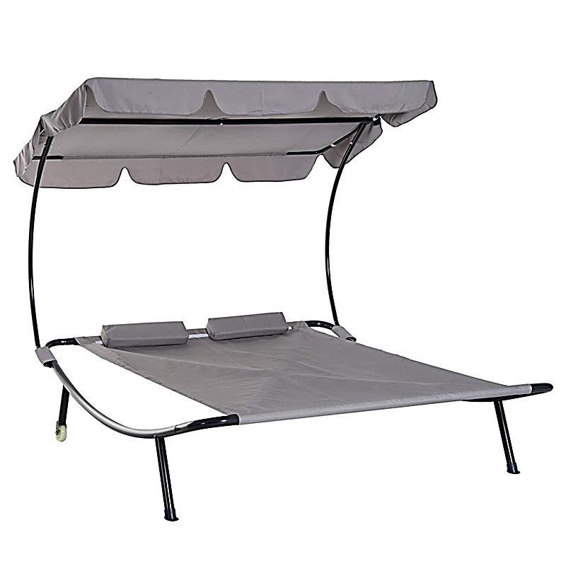 Doppelliege Mit Dach Farbe Grau In 2020 Doppelliege Lounge Und Relaxliege