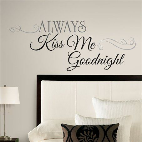 ALWAYS KISS ME GOODNIGHT LOVE Quote Wall Stickers Bedroom Removable Decals DIY