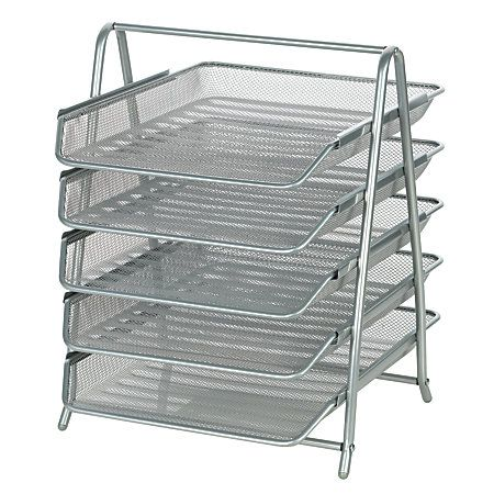 Officemax Brand Steel Mesh 5 Tier File Tray Letter Size 14 34 X 13 11 58 Silver By Office Depot