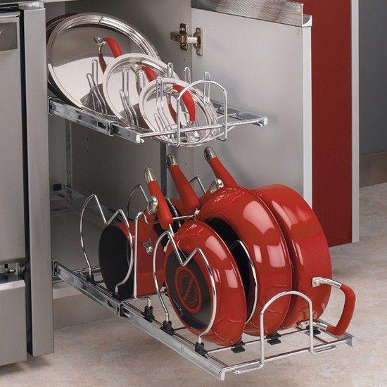Two Tier Cookware Organizer Chrome 12 Cookware Organization
