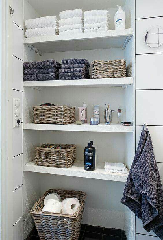 Doesnt Need To Be Covered If Carefully Appointed Baskets Do A Lot Add Paint Or Texture Back Wall And Use Wood For Shelves