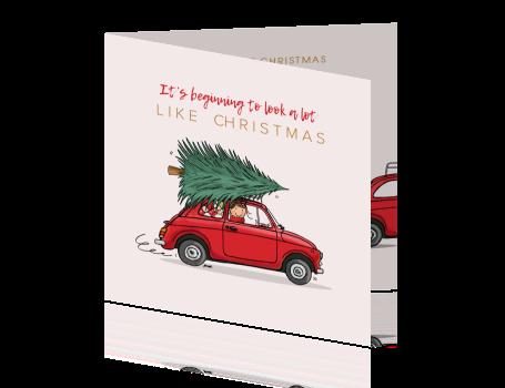 Kerstkaart Fiat 500 Met Kerstboom Kerst Kaarten Kerstboom Fiat 500