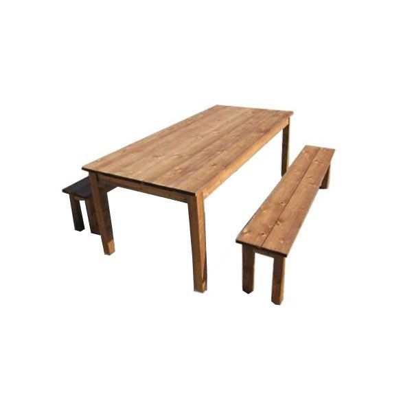 Salon de jardin en bois table 2 bancs am nagement - Table banc exterieur ...