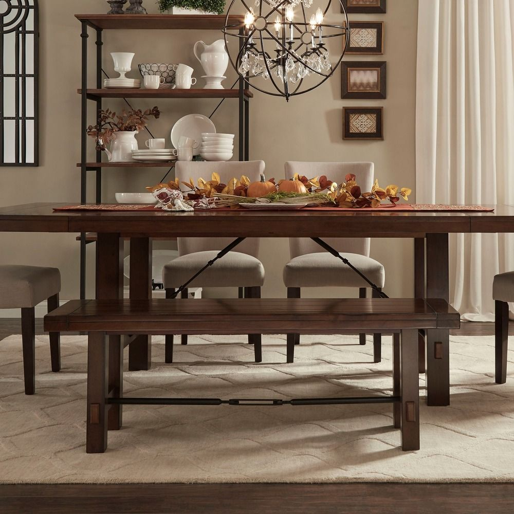 Swindon Rustic Oak Turnbuckle Dining Bench by iNSPIRE Q Classic by iNSPIRE Q