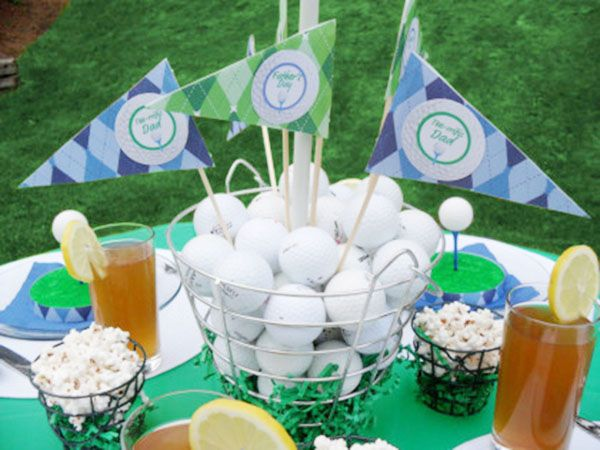 Tee riffic golf ball ideas golf party golf and centerpieces for Golf centerpiece ideas