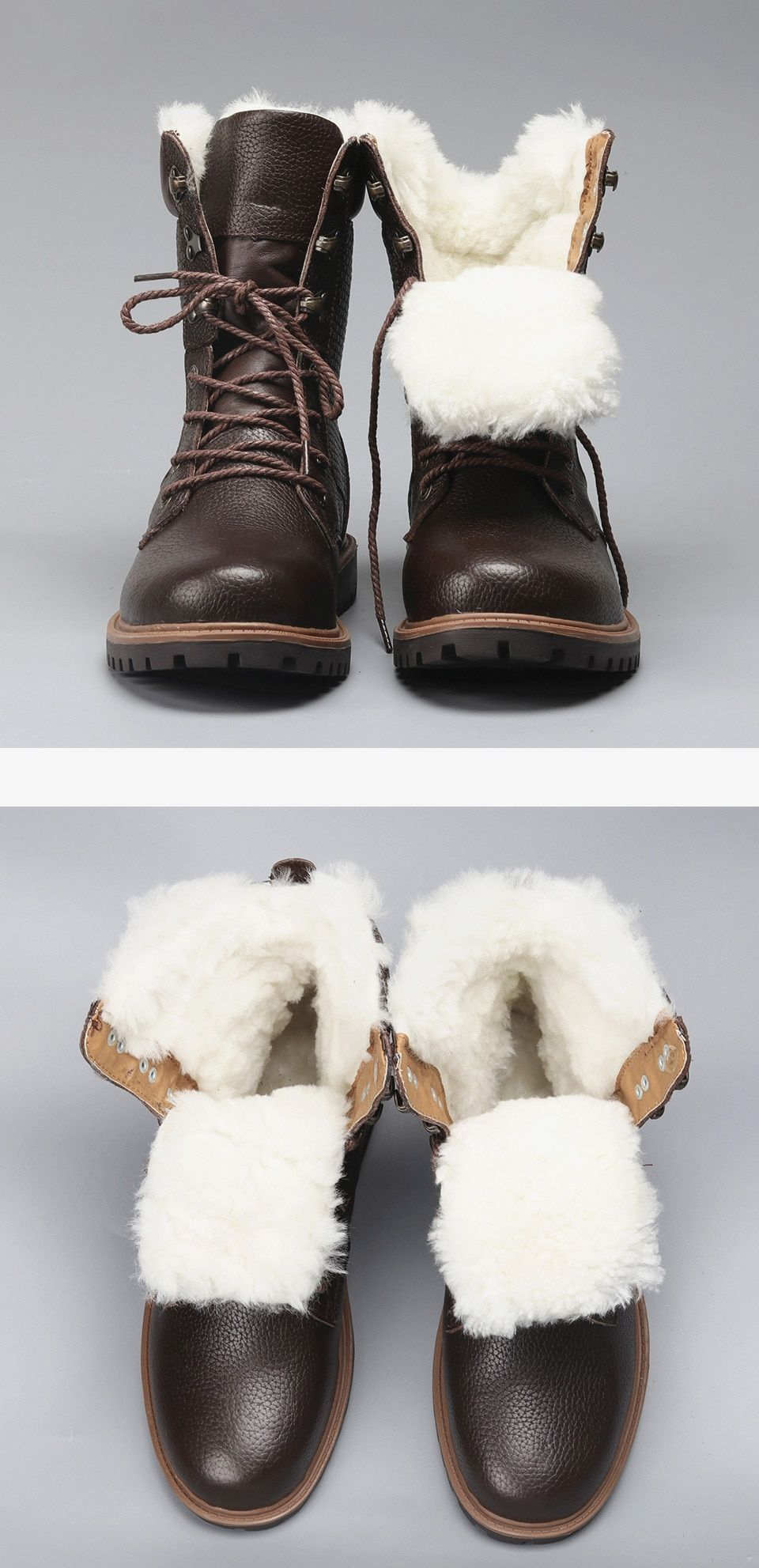 Natural wool warmest genuine leather handmade boots in