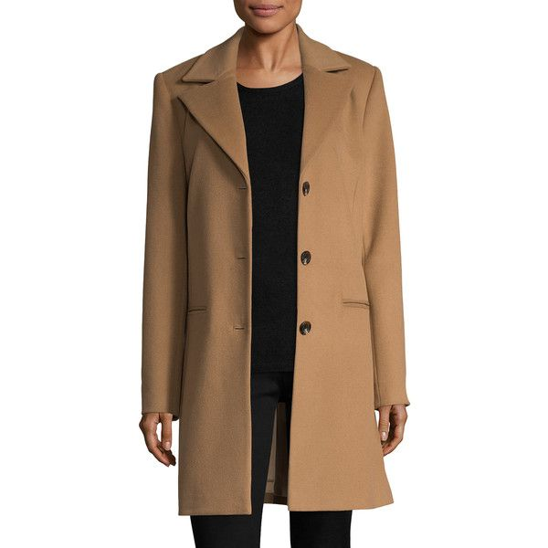 PURE NAVY Women's Notch Wool Coat - Camel, Size l ($169) ❤ liked ...