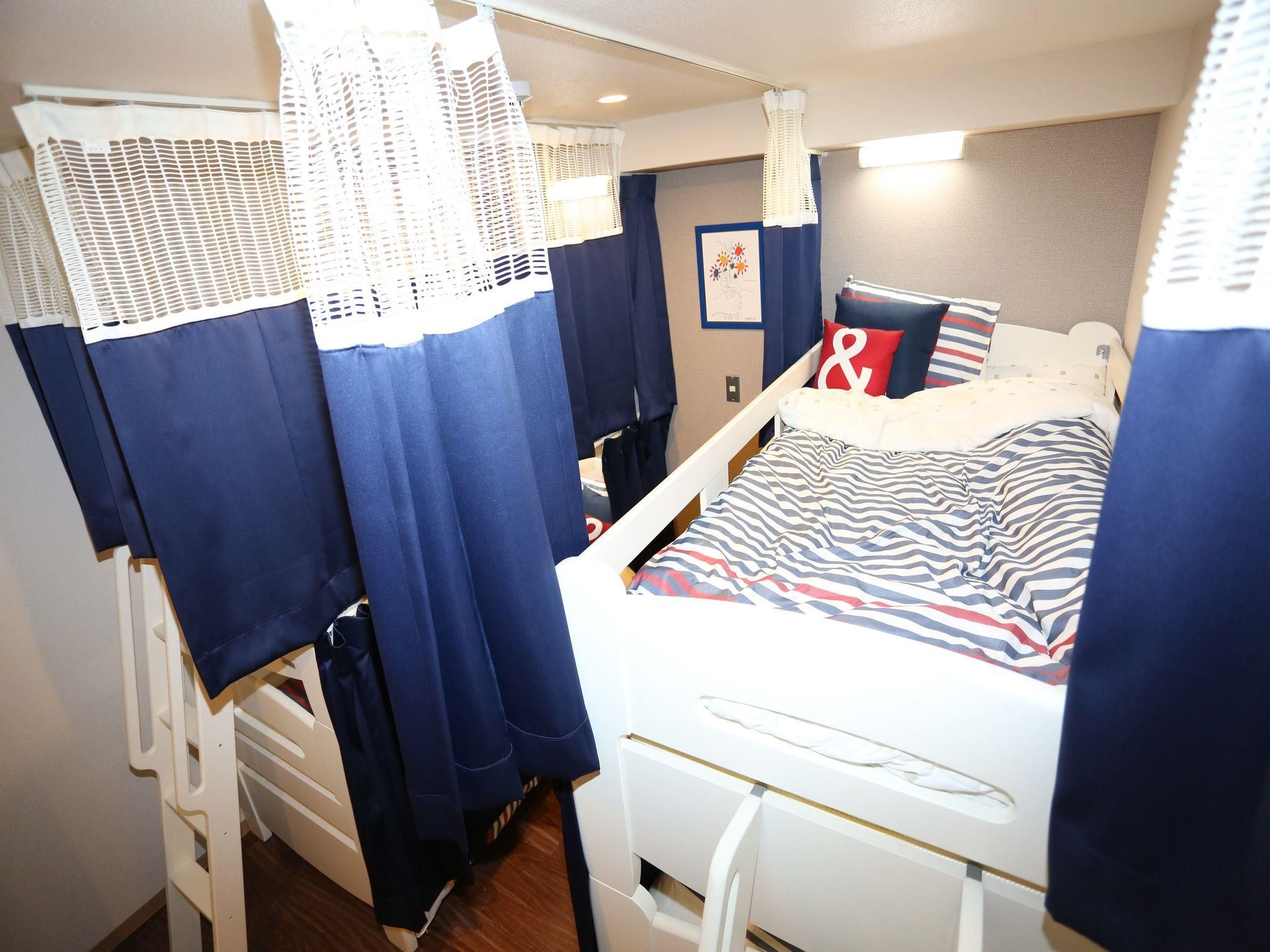 Mini loft bed with slide  BUNK BED HOSTEL GUEST HOUSE Osaka Japan  Asia  Pinterest  Beds