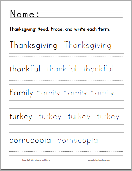 thanksgiving handwriting practice worksheet for kids free to print pdf holidays. Black Bedroom Furniture Sets. Home Design Ideas