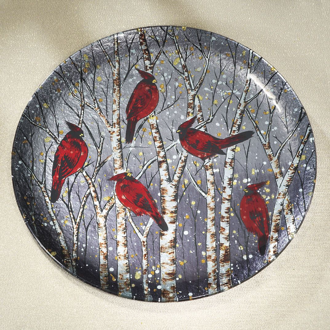 Snowbirds Art Glass Plate BestSelling Gifts, Clothing