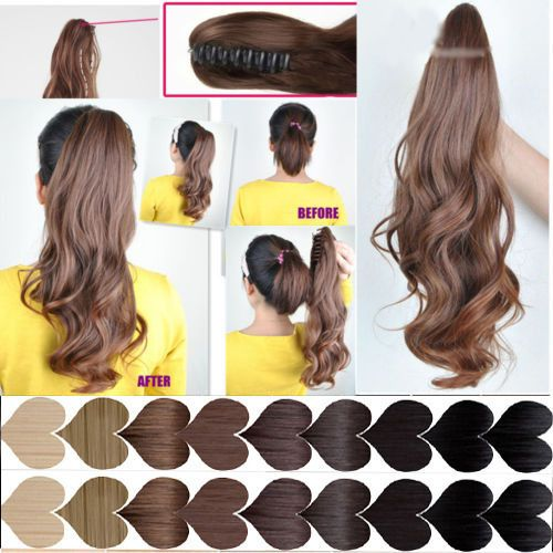 excellent condition clip in ponytail hair extensions straight curly AAA enjoys #New #HairExtension