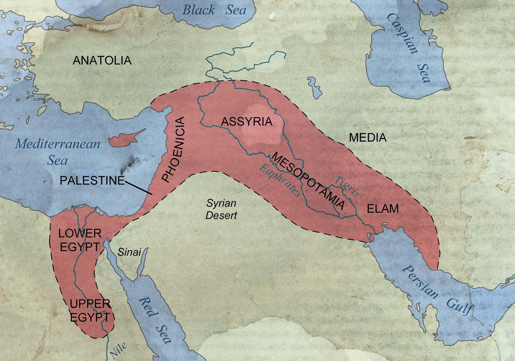 The Fertile Crescent encompasses parts of Egypt