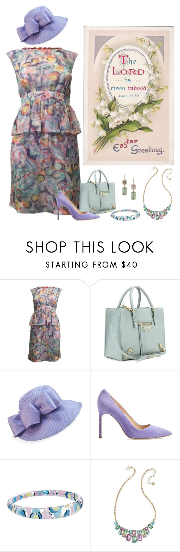 """""""Vintage Easter Dress... Chanel"""" by marvy1 ❤ liked on Polyvore featuring Chanel, Balenciaga, F&M Hats, Manolo Blahnik, Alexis Bittar, Charter Club and vintage"""