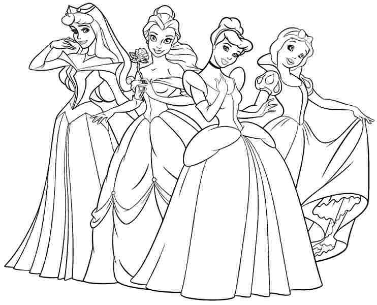 Colouring Pages Disney Princess Kids