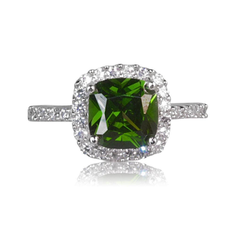 c2aa90c71ae Victoria Real Sterling Silver Emerald Coloured DiamonFlash sup ®  sup   Cubic Zirconia Cluster Ring