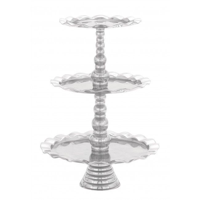 Metal Dessert Stand, Tiered Display with Scalloped Edges