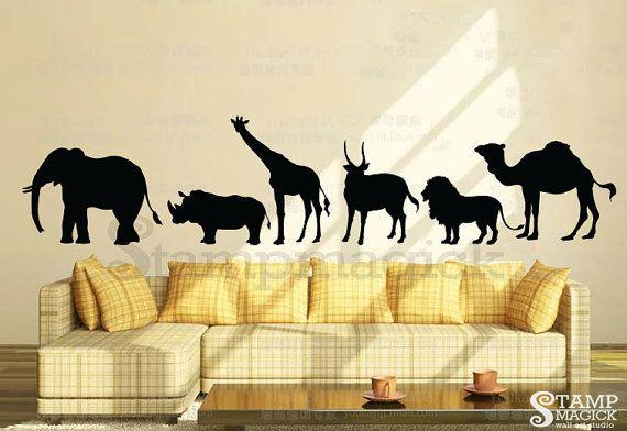 Safari Wall Decal Animal Silhouettes Wall Decal Animals Wall Decal Lion Elephant Rhino Ram Gir Jungle Wall Decals Animal Wall Decals Wall Graphics Design