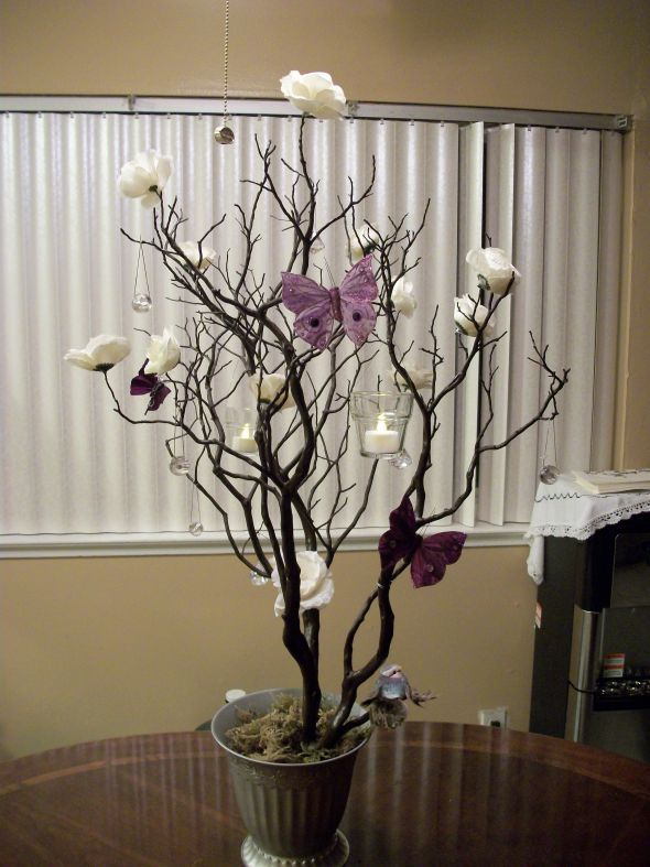 Diy Manzanita Tree Centerpiece Wedding Butterfly Hanging Votives Ivory Manzanita Tree Manzanita Tree Centerpieces Tree Centerpieces Tree Branch Centerpieces