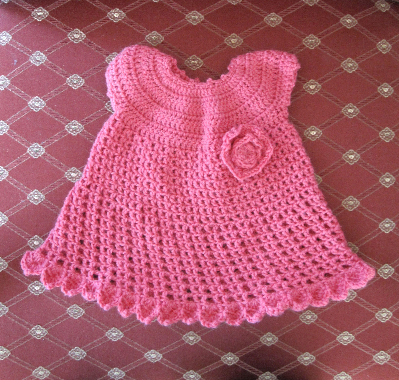 Crochet baby dress, Free pattern here: http://www.redheart.com/free ...