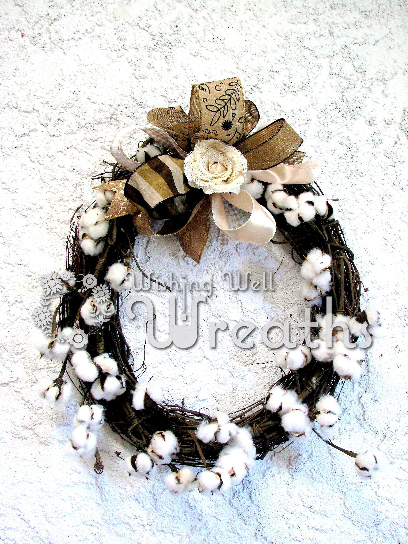 Farmhouse Style Cotton Ball Wreath, Rustic Cotton Ball Wreath, Country Kitchen Decor, Rustic Cotton Ball Wreath, Southern Style Wreath, Door by WishingWellWreaths on Etsy wishingwellwreaths.etsy.com