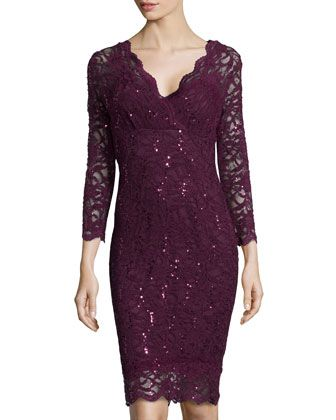 367dc3e4d02a Long-Sleeve V-Neck Lace Cocktail Dress, Merlot by Marina at Neiman Marcus  Last Call.