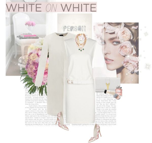"""""""White On White Contest"""" by naturally-jolie ❤ liked on Polyvore"""