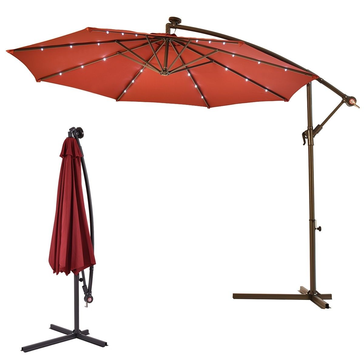 10 Patio Hanging Umbrella Sun Shade With Solar Led Lights Patio Umbrella Patio Sun Shades Solar Umbrella