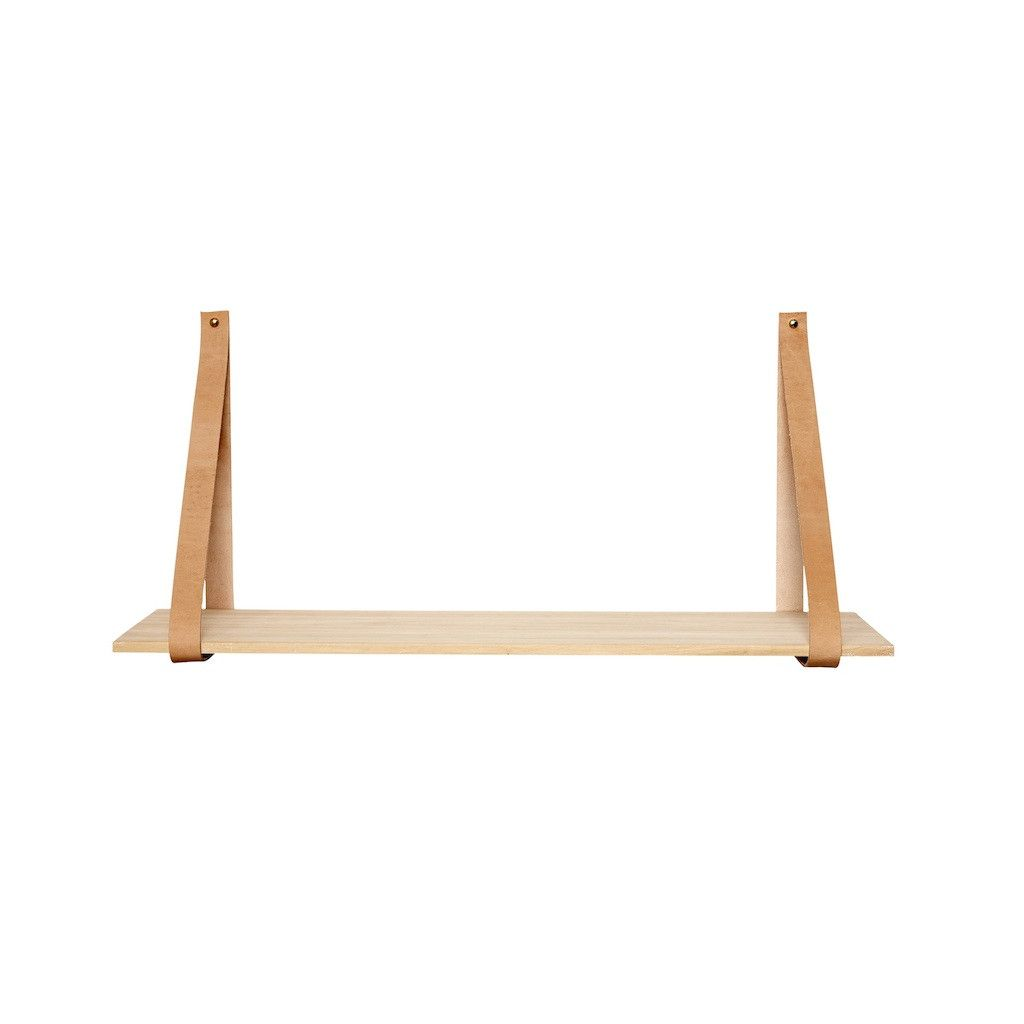 SMALL SHELF WITH LEATHER BRACKET by Hubsch – LO AND BEHOLD STORE
