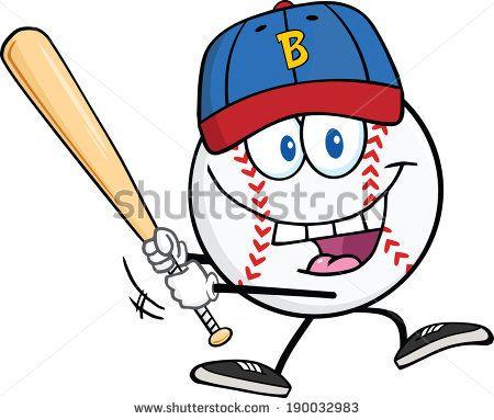 Happy Baseball Ball With Cap Swinging A Baseball Bat Vector Illustration Isolated On White Baseball Baseball Balls Bat Clip Art