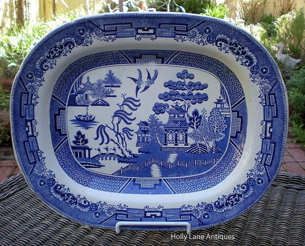 Antique Blue Transferware Large Platter Willow Pattern - C