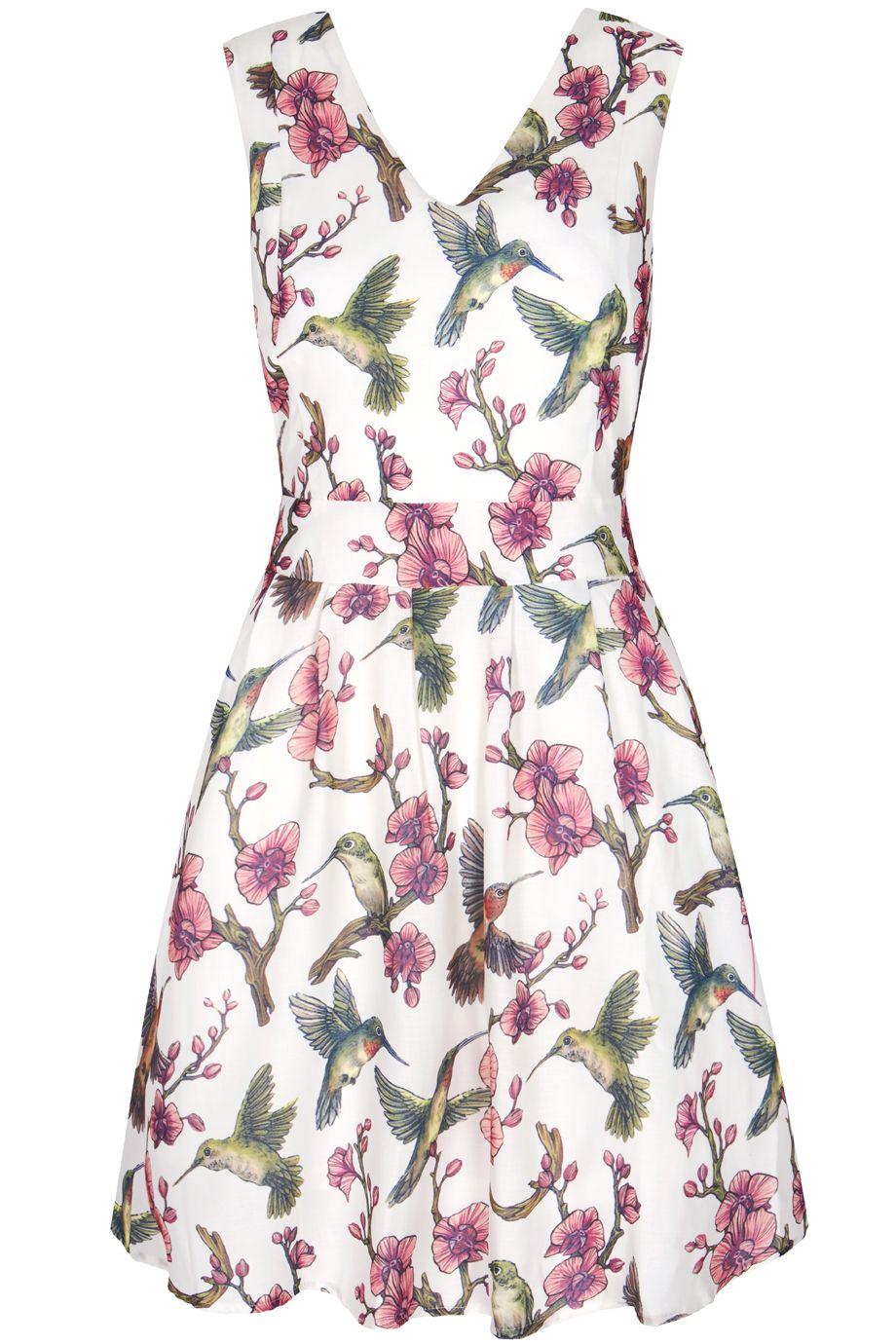 b2dba3a37060 Λευκό floral φόρεμα με πουλάκια