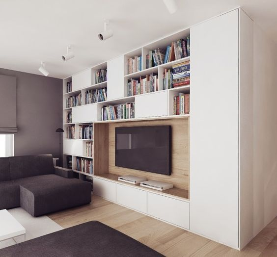 Apartments Awesome Studio Apartment Interior Black Comfy Sofa Built In Shelving Wooden Flooring Bookshelves Ceiling Light Led Television Apartment Interior Chic Studio Apartments with Artsy Accents: