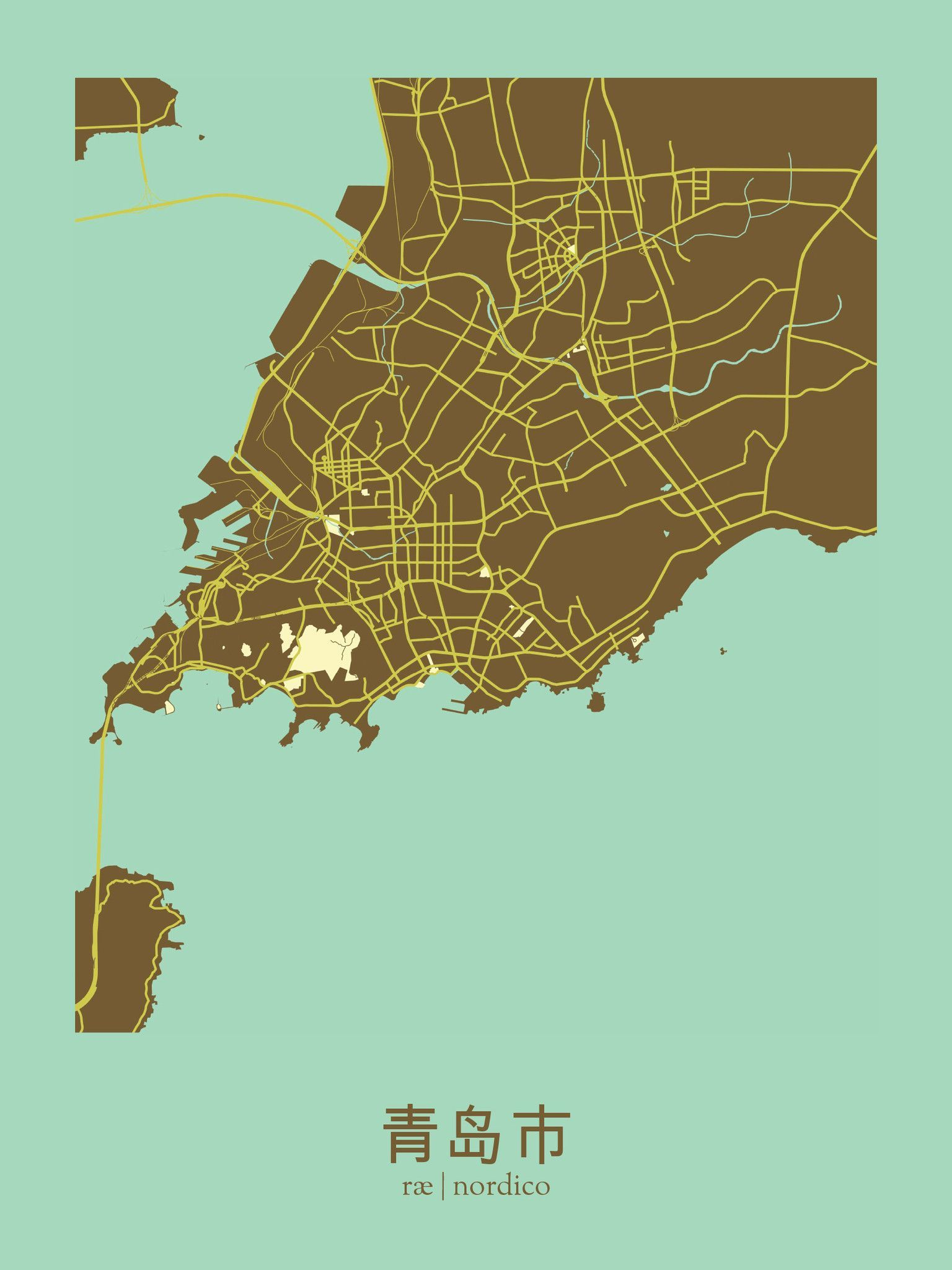Qingdao, China Map Print | atlas | Pinterest | Dibujo