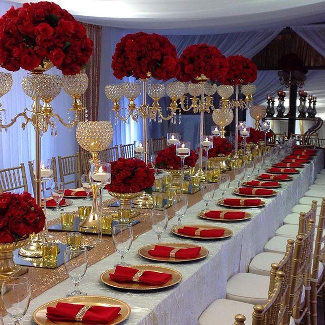 Red Wedding Ideas Reception: Maria Medina @medinaspartyrental Instagram Photos