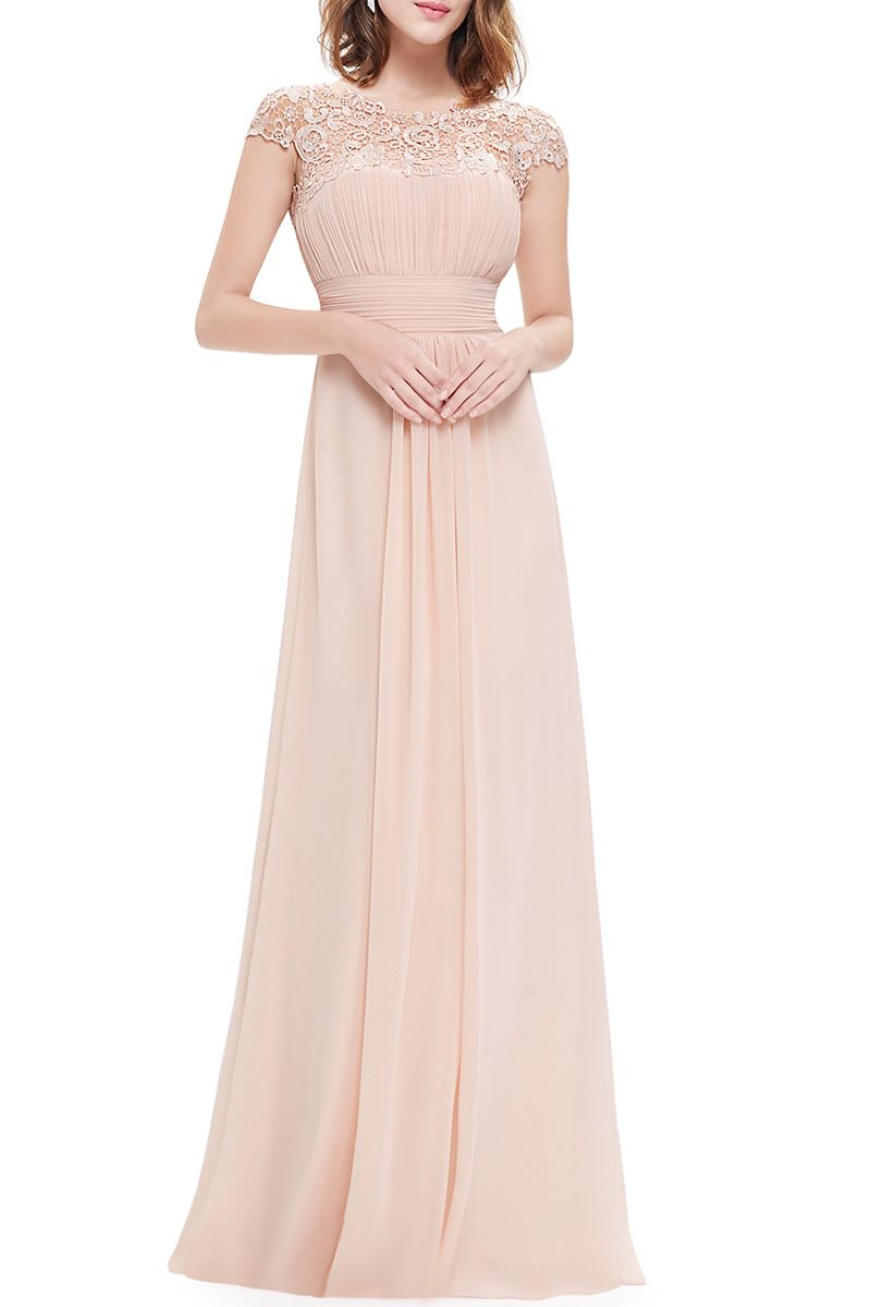 Lace splicing backless prom dress blush dresses blush color and prom