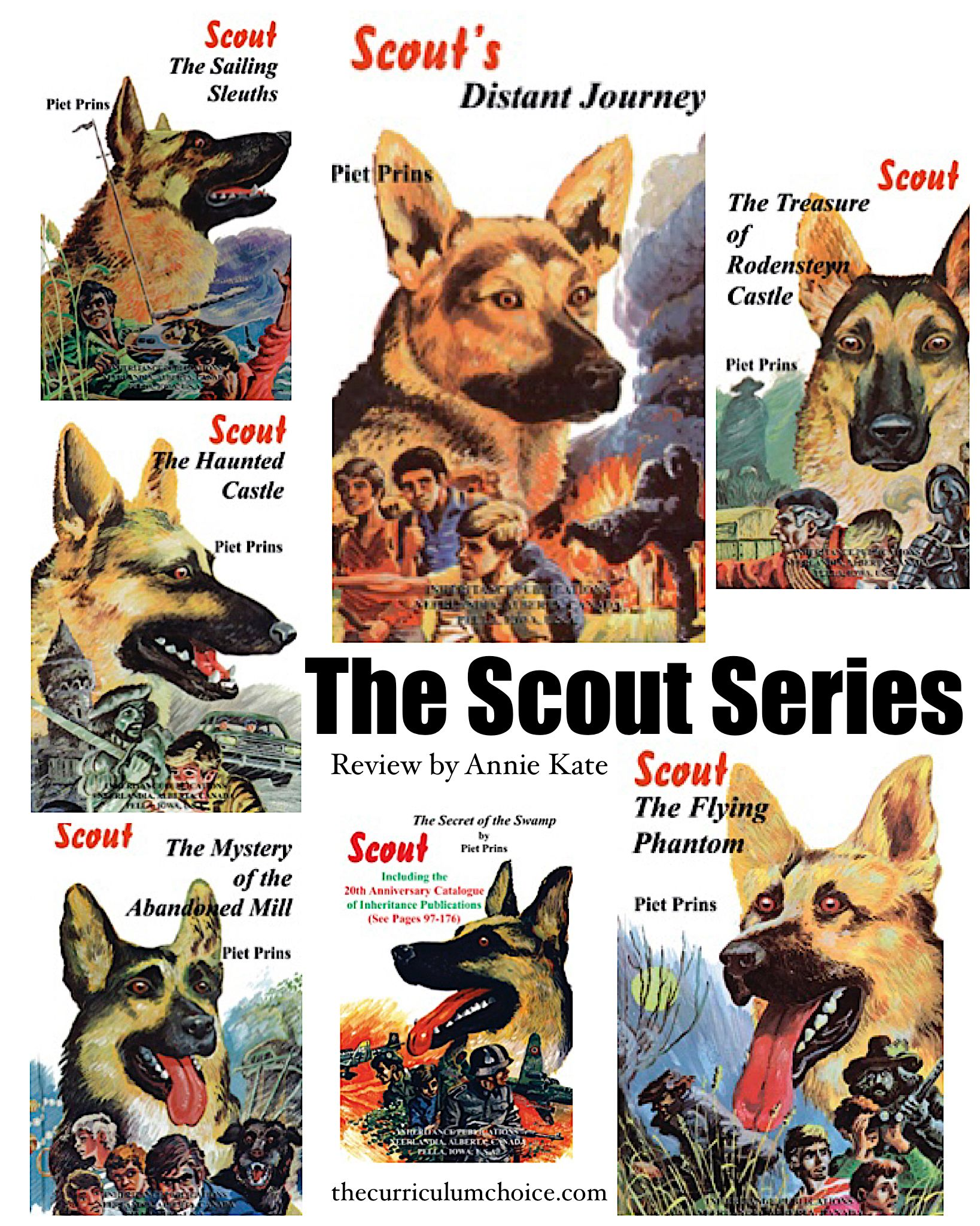 Teenaged Tom, his amazing dog Scout, and his two friends get themselves into many dangerous adventures in Piet Prins's seven-book Scout series.