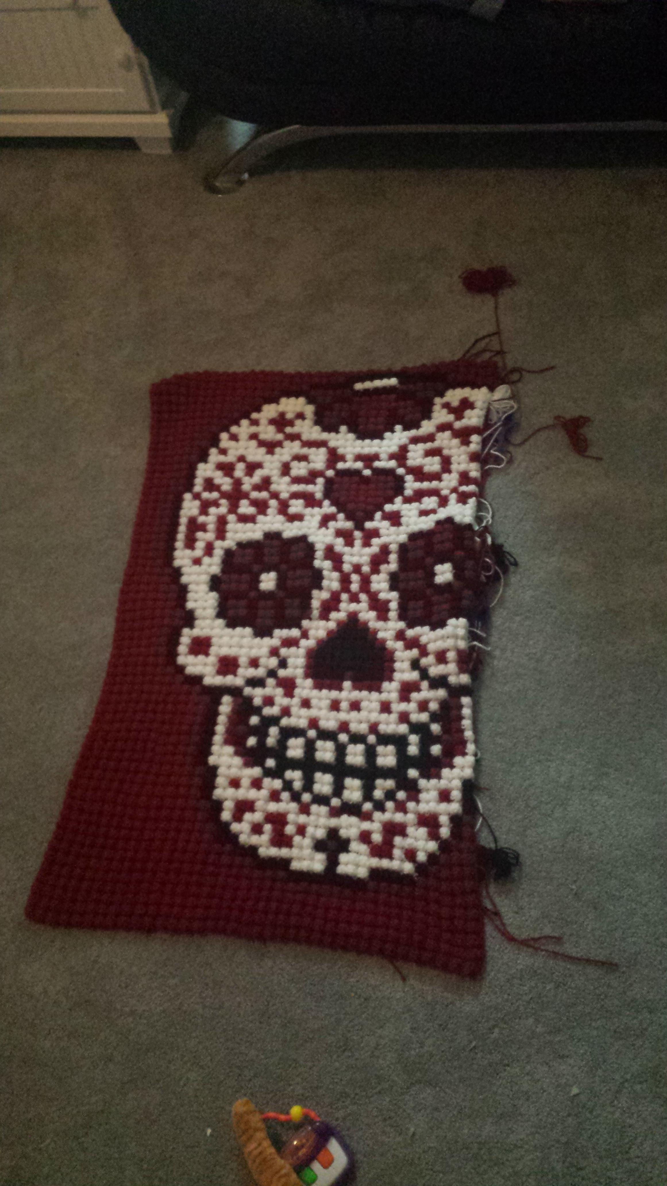 Bonito Cráneo Y Bandera Patrón De Crochet Molde - Manta de Tejer ...