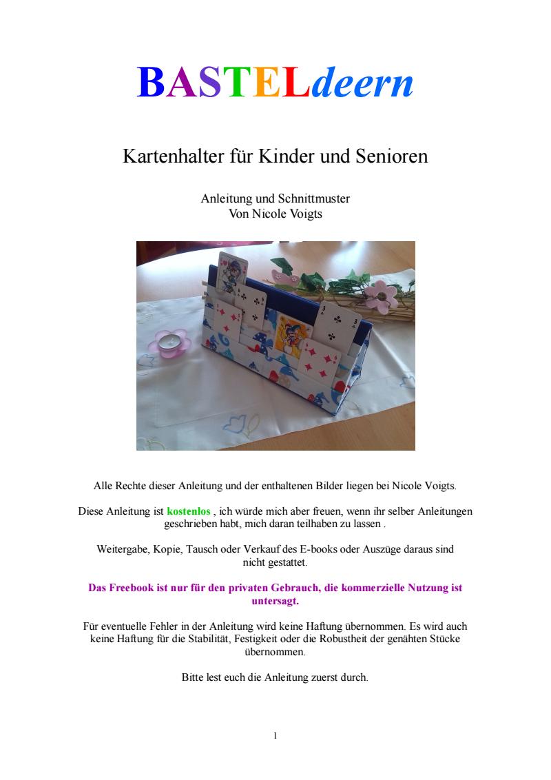 Seite 1 | Nähen | Pinterest | Kartenhalter, Nähen und Anleitungen