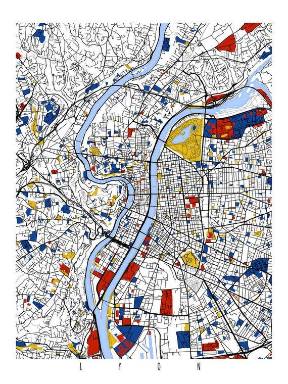 Lyon Map Art Lyon France Wall Art Print Poster Modern Home