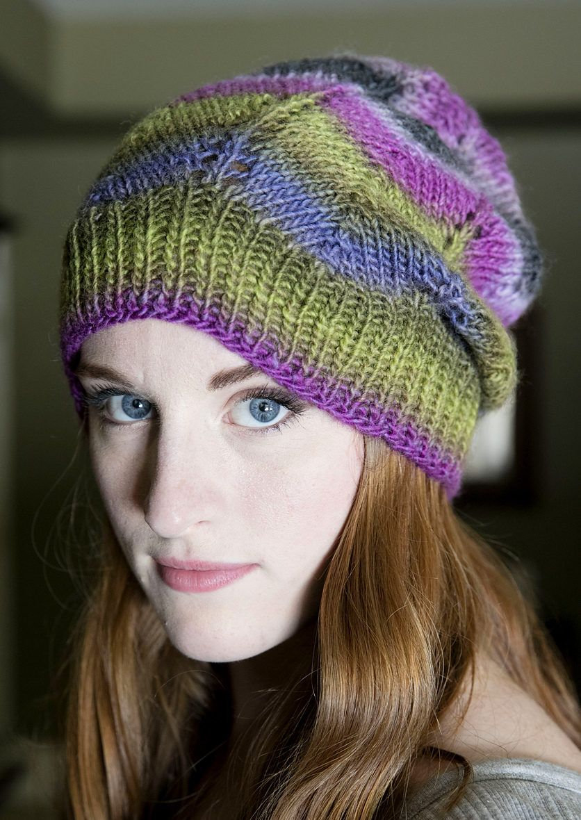 Free Knitting Pattern for Gina Chevron Hat - This easy lace slouchy ...