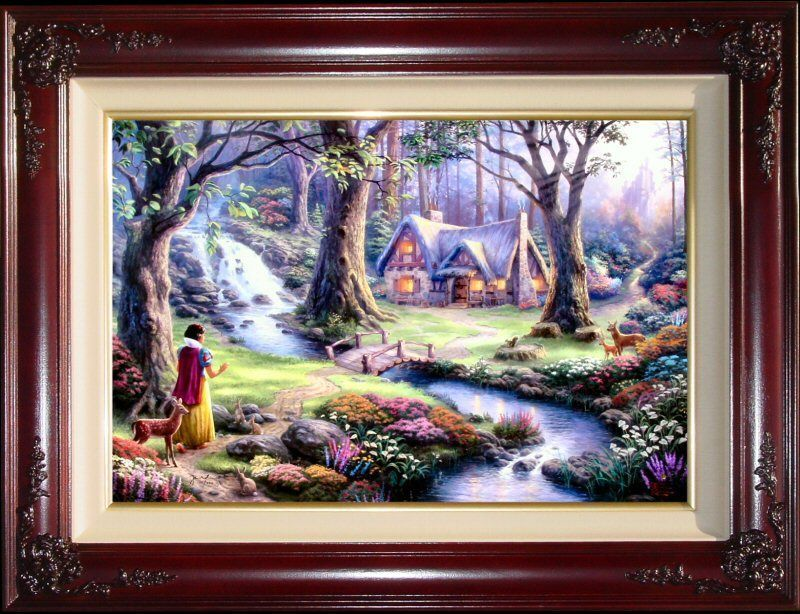 Thomas Kinkade DBL SIGNED Snow White Discovers The Cottage 24x36 I/P ...