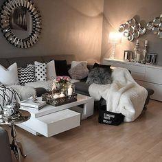 Wohnzimmer braun & weiß @interior4inspo