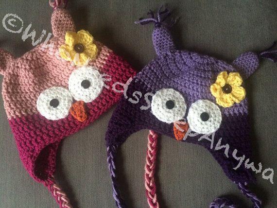 Crochet Owl with Flower Hat You choose by WhoNeedsSleepAnyways