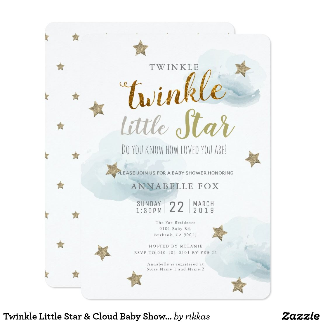 Twinkle Little Star Cloud Baby Shower Invitation Zazzle