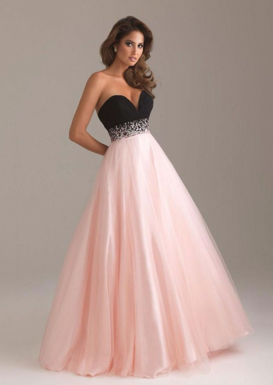 Light pink, sparkly waist, black top very long gorgeous prom dress ...