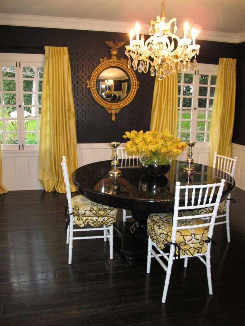 yellow curtain dining room interior inspiration with black rounded rh pinterest com